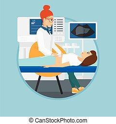 ultrasound, gedurende, patiënt, examination.