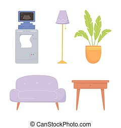 ultrasound machine lamp plant and sofa icons vector illustration