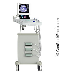Ultrasound scanner for ultrasonography or sonic imaging based on tissue density as used in prenatal scanning of a foetus, isolated on a white background