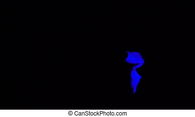 Ultraviolet Gloves in Pantomime Performance. Interacting Blue Hands on Black Background in Black Light Scene.
