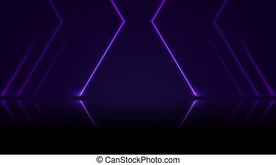 Ultraviolet neon laser lines with reflection. Abstract technology retro background. Futuristic glowing motion design. Video animation HD 1920x1080