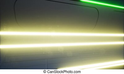 Ultraviolet neon tunnel portal room glowing lines 4k
