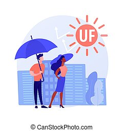 Ultraviolet radiation abstract concept vector illustration. Radiation protection, ozone layer destruction, ultraviolet irradiation, epidermis disease cause, UV rays exposure abstract metaphor.