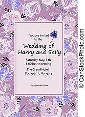 ultraviolet, weide, ouderwetse , hand, invitation., vector, roses., colors., trouwfeest, modieus, getrokken, bloemen