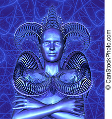 Ultraviolet woman with energy background, 3D render with ...