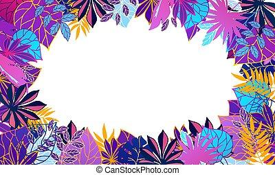 ultravioleta, folhas, néon, fluorescente, branca, redondo, palma, espaço, tropicais, banner., círculo, quadro, intermitente, exoticas, verão, vetorial, illustration.
