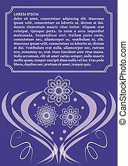 ultravioleta, plantilla, con, monoline, blanco, encaje, patrones, en, vendimia, estilo, moderno, púrpura, color, combinado, con, blanco, elegante, invitación, anuncio, diseño, con, texto, marco