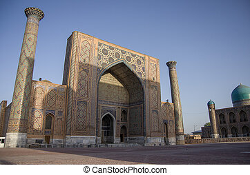 Ulugbek Madrasah on Registan Square in Samarkand, Uzbekistan