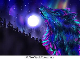 ululando, lupo, spirito