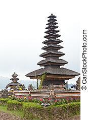 Ulun Danu on lake Beratan, Bali, Indonesia