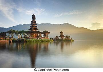 Pura Ulun Danu temple panorama at sunrise on a lake Bratan, Bali, Indonesia