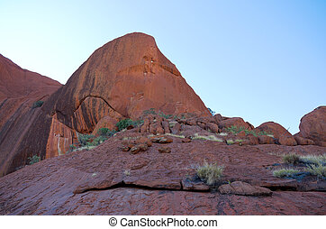 Uluru Rock Outcrop - rock outcropping along mutijulu walk at...