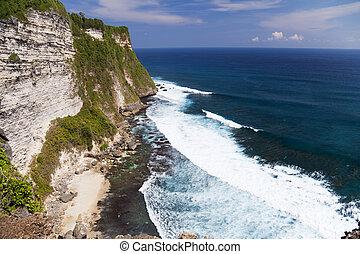 uluwatu, indonesia, scogliere, uluwatu, bali