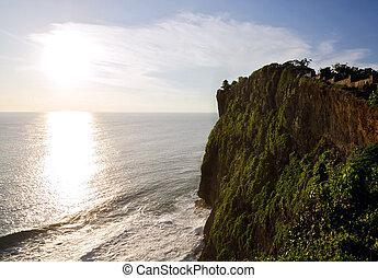 uluwatu, sommet, coucher soleil, pendant, falaises, temple