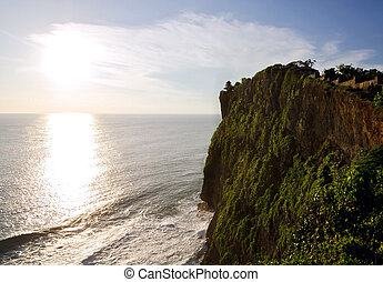 Uluwatu Temple on top of cliffs during Sunset, Bali, Indonesia