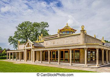 ulverston., buddist, conishead, priorato, templo