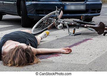 ulykke, på, den, fodgænger krydse