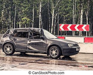 ulykke, regnfulde, her, overprocessed), detaljer, vej, automobilen, former, (the