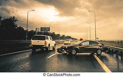 ulykke, regnfulde, vej, automobilen, changes), (ps.