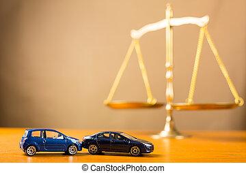 ulykke vogn, behøve, til, retfærdighed