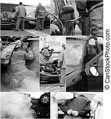 ulykke vogn, scene, collage.