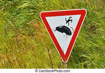ulykke vogn, vej underskriv