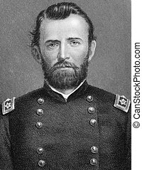 Ulysses S. Grant (1822-1885) on engraving from 1800s. 18th President of the United States (1869-1877) and military commander during the Civil War. Published in London by Virtue & Co.