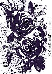 umělecký, růže, abstraktní, grafické pozadí