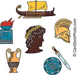 umění, a, dějiny, o, starobylý řecko, barvitý, skica