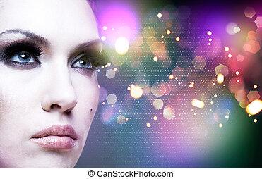 umění, abstraktní, samičí, portrét, s, kráska, bokeh
