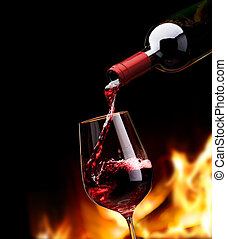 umění, obroubit, víno