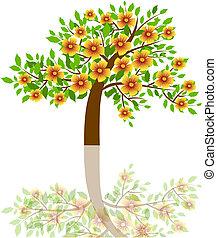 um, árvore, com, bonito, flores