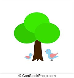 um, árvore, com, dois pássaros