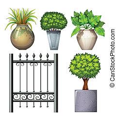 um, aço, portão, potted, plantas
