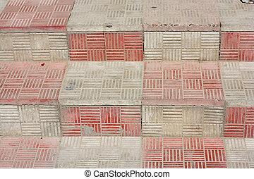 um, abstratos, escadas, com, cerâmico, tiles.