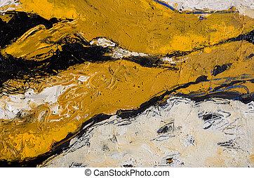 um, abstratos, expressionistic, pintura acrílica, em, marrom