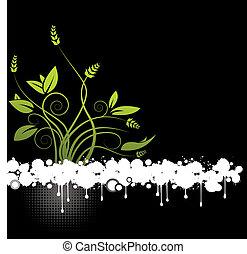 um, abstratos, floral, vetorial