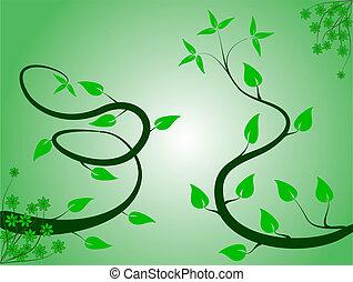um, abstratos, verde, floral, fundo