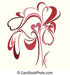 um, abstratos, vetorial, ilustração, de, um, único, amor, árvore