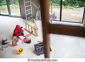 um, acidente, de, um, homem, trabalhador, em, a, construção, local.