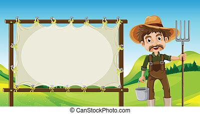 um, agricultor, ao lado, a, vazio, signage