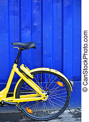 um, amarela, bicicleta