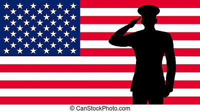 um, americano, soldado, saudando