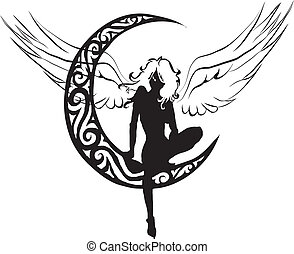um, anjo, ligado, lua