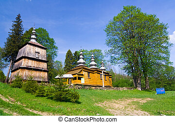 um, antigas, igreja ortodoxa, em, rzepedz, beskid, niski,...