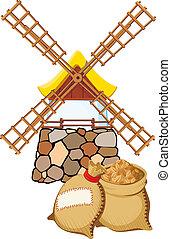 um, antigas, moinho de vento, e, sacolas, com, trigo