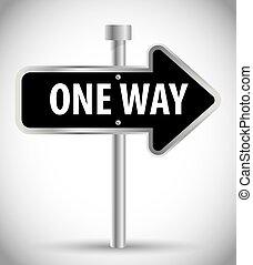 um, anunciando, maneira, sinal, desenho, estrada