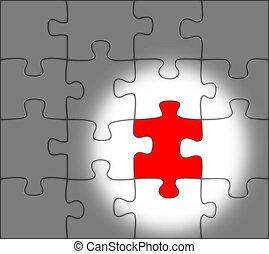 um, ausente, vermelho, pedaço, de, um, quebra-cabeça