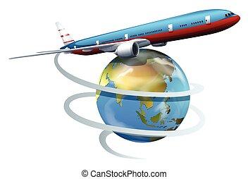um, avião, viajar, ao redor, globo