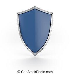 um, azul, escudo, com, brilhante, prata, borda